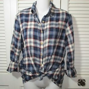 Brandy Melville Blue Flannel Plaid S